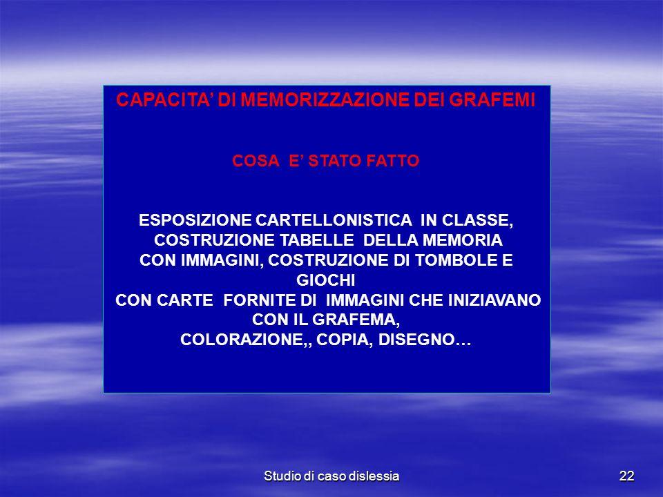 CAPACITA' DI MEMORIZZAZIONE DEI GRAFEMI
