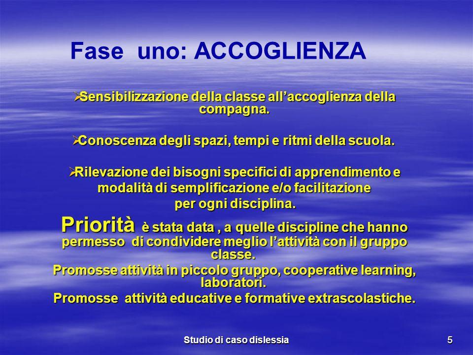 Fase uno: ACCOGLIENZASensibilizzazione della classe all'accoglienza della compagna. Conoscenza degli spazi, tempi e ritmi della scuola.