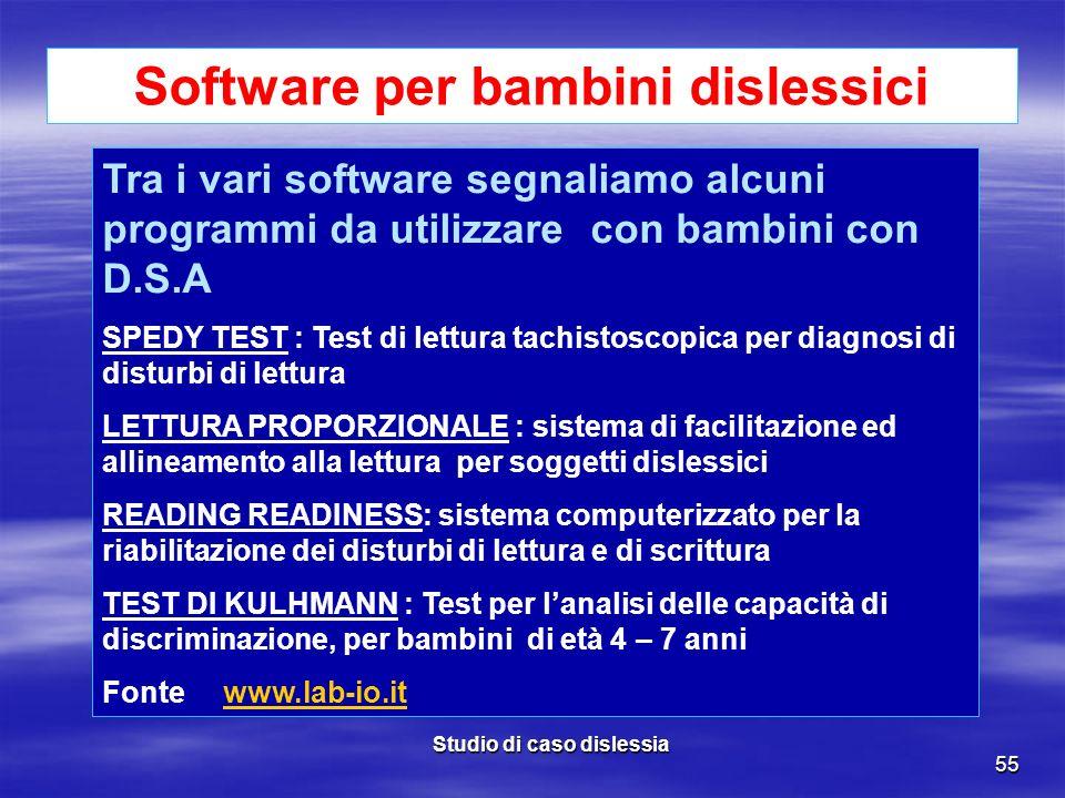 Software per bambini dislessici Studio di caso dislessia