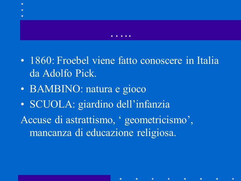 ….. 1860: Froebel viene fatto conoscere in Italia da Adolfo Pick.