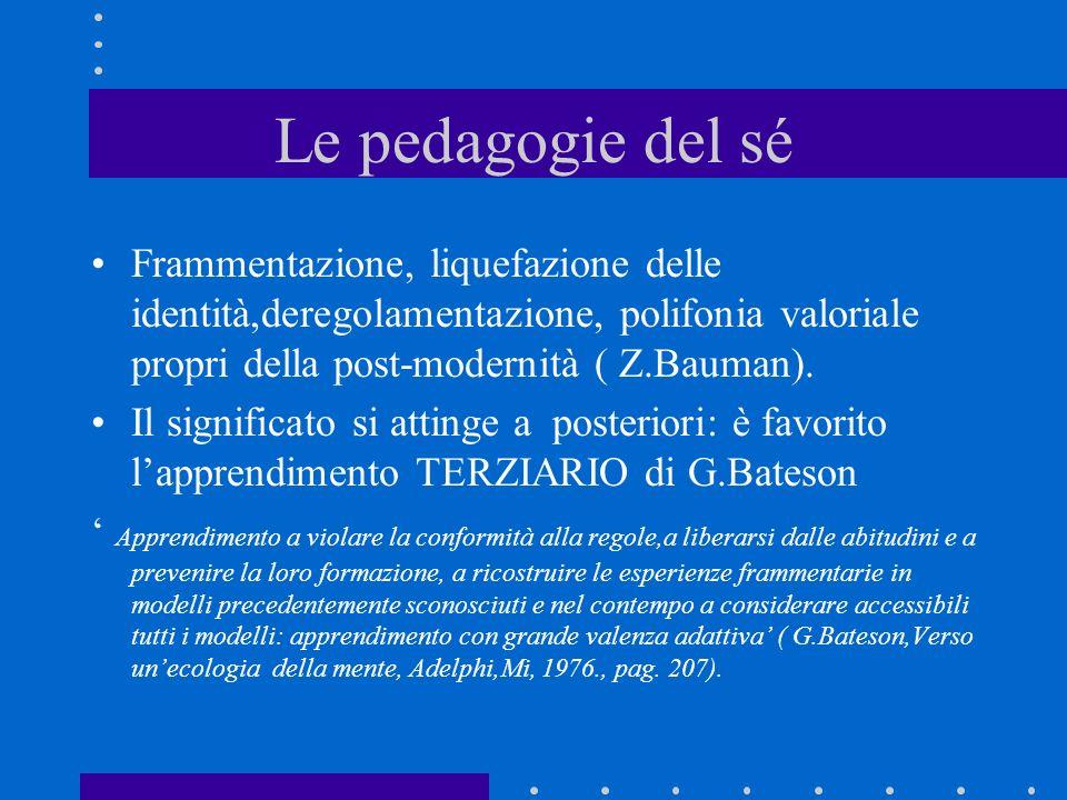 Le pedagogie del sé Frammentazione, liquefazione delle identità,deregolamentazione, polifonia valoriale propri della post-modernità ( Z.Bauman).
