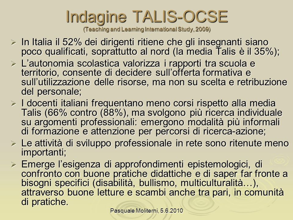 Indagine TALIS-OCSE (Teaching and Learning International Study, 2009)