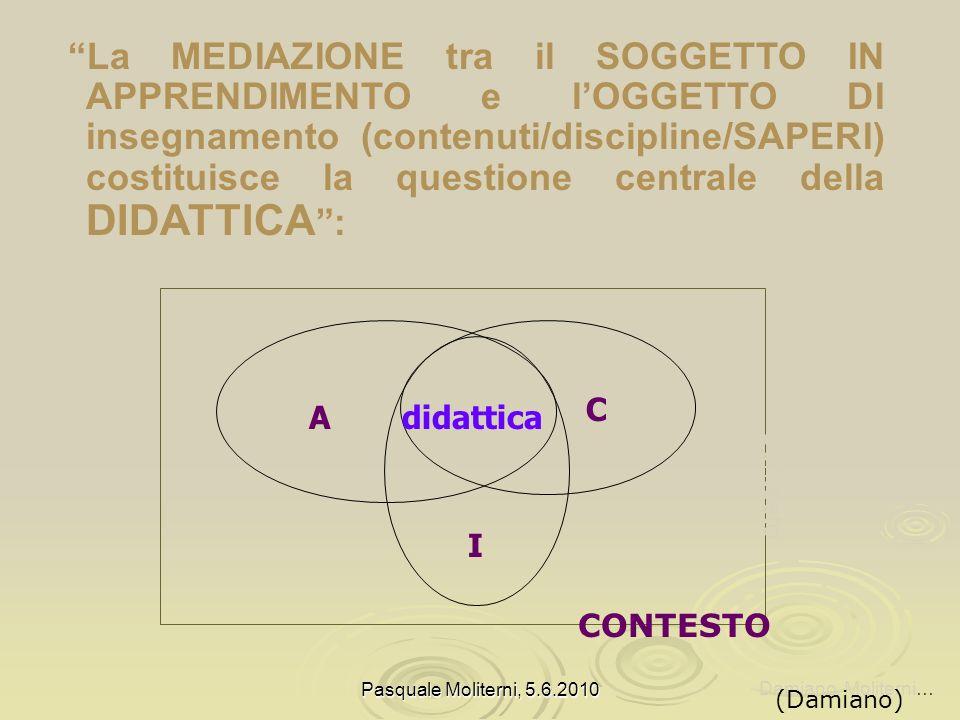 La MEDIAZIONE tra il SOGGETTO IN APPRENDIMENTO e l'OGGETTO DI insegnamento (contenuti/discipline/SAPERI) costituisce la questione centrale della DIDATTICA :