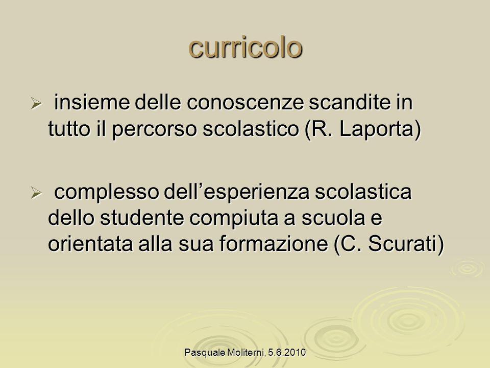 curricolo insieme delle conoscenze scandite in tutto il percorso scolastico (R. Laporta)