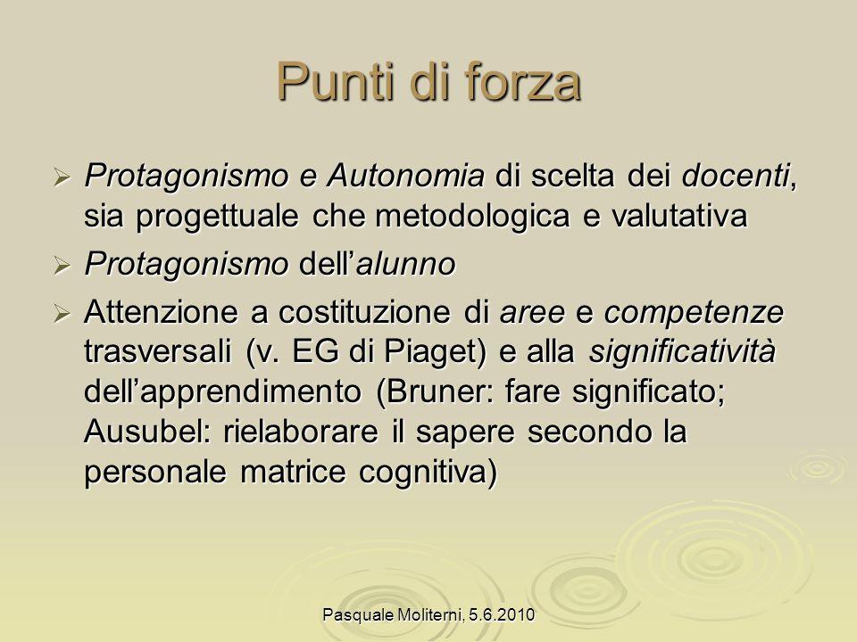 Punti di forza Protagonismo e Autonomia di scelta dei docenti, sia progettuale che metodologica e valutativa.