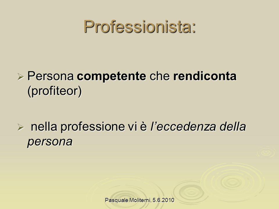 Professionista: Persona competente che rendiconta (profiteor)