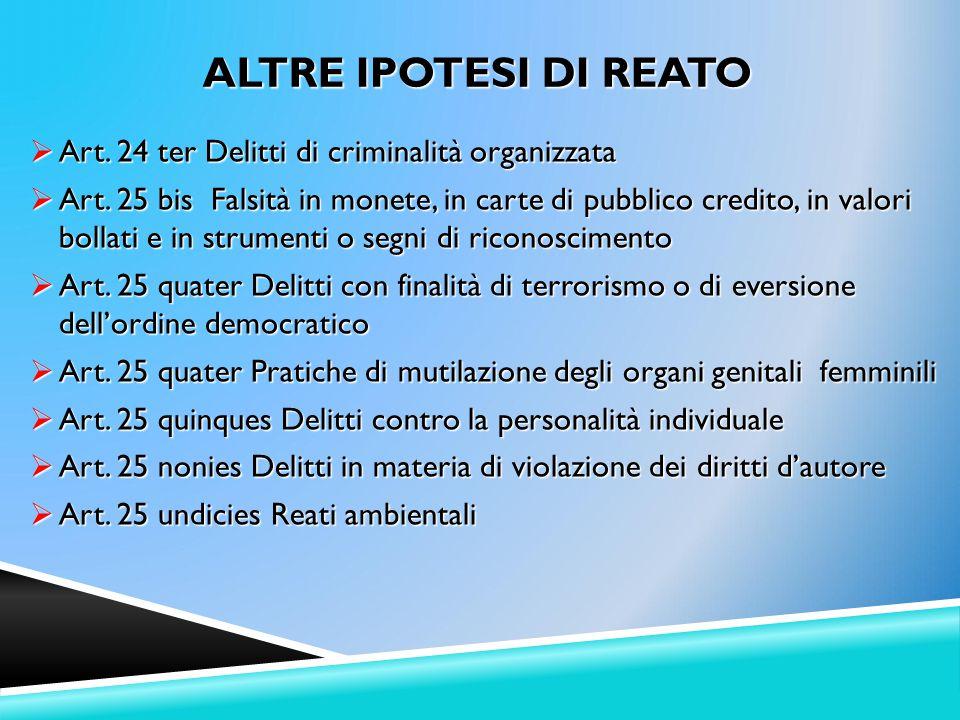 ALTRE IPOTESI DI REATO Art. 24 ter Delitti di criminalità organizzata