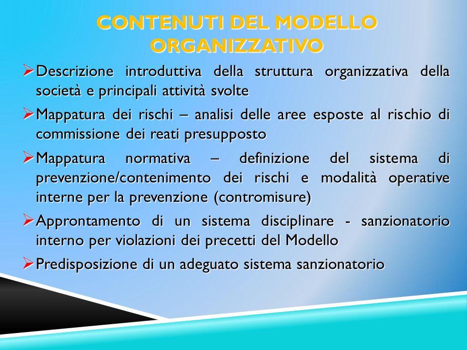 CONTENUTI DEL MODELLO ORGANIZZATIVO
