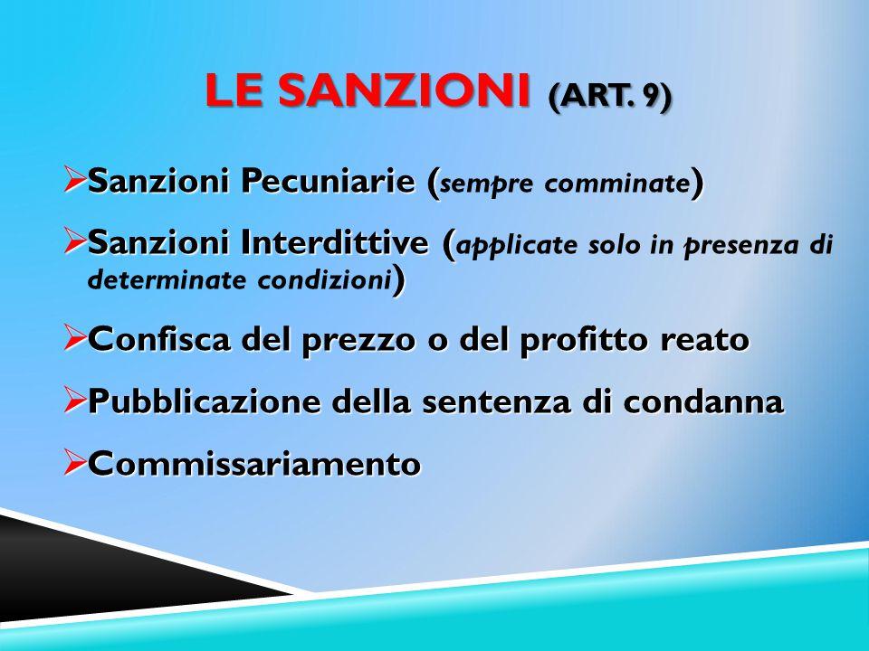 Le Sanzioni (Art. 9) Sanzioni Pecuniarie (sempre comminate)