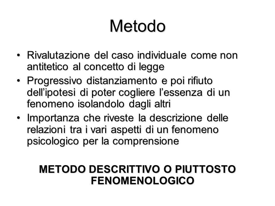 METODO DESCRITTIVO O PIUTTOSTO FENOMENOLOGICO
