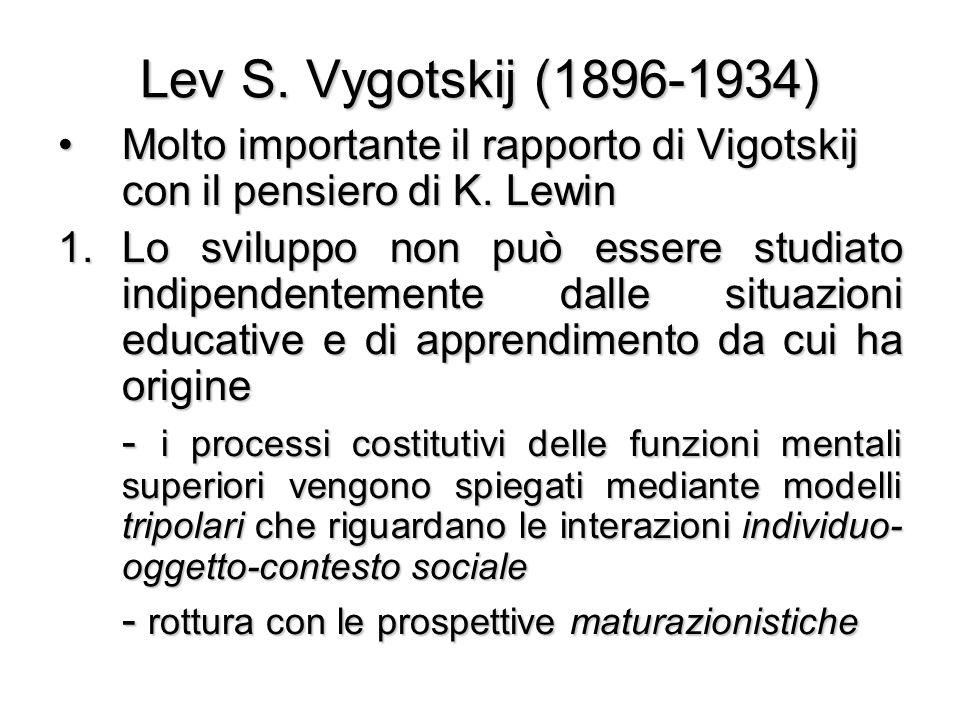 Lev S. Vygotskij (1896-1934) Molto importante il rapporto di Vigotskij con il pensiero di K. Lewin.