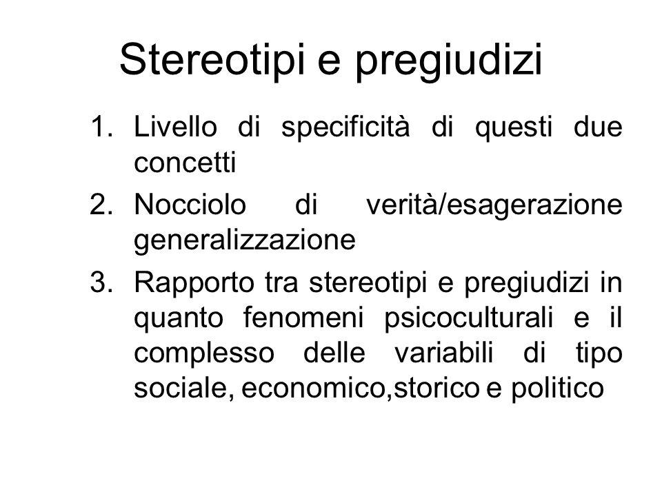 Stereotipi e pregiudizi