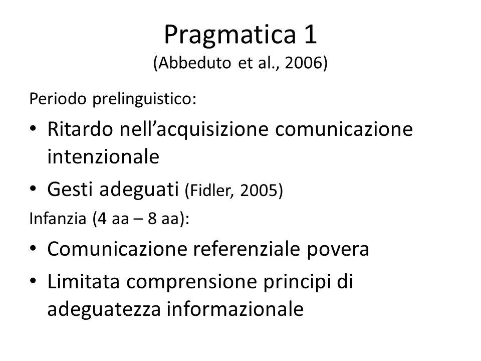 Pragmatica 1 (Abbeduto et al., 2006)