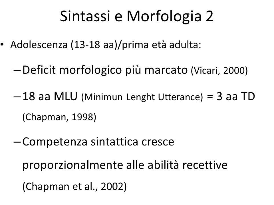 Sintassi e Morfologia 2 Deficit morfologico più marcato (Vicari, 2000)