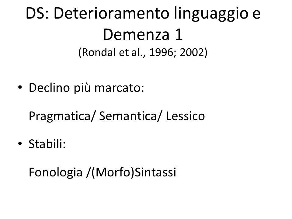 DS: Deterioramento linguaggio e Demenza 1 (Rondal et al., 1996; 2002)
