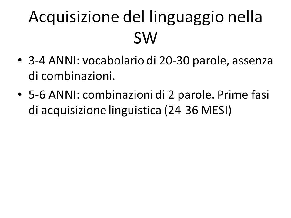 Acquisizione del linguaggio nella SW