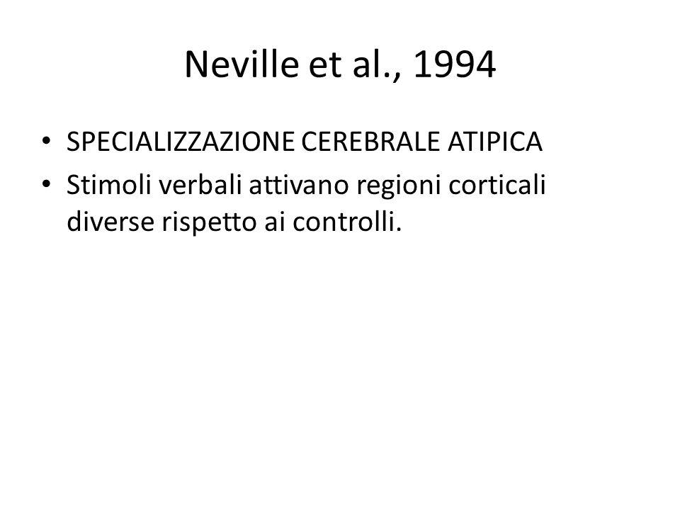 Neville et al., 1994 SPECIALIZZAZIONE CEREBRALE ATIPICA