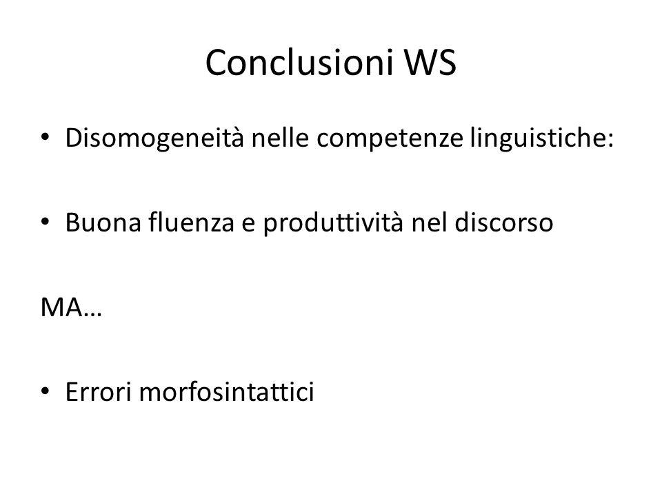 Conclusioni WS Disomogeneità nelle competenze linguistiche: