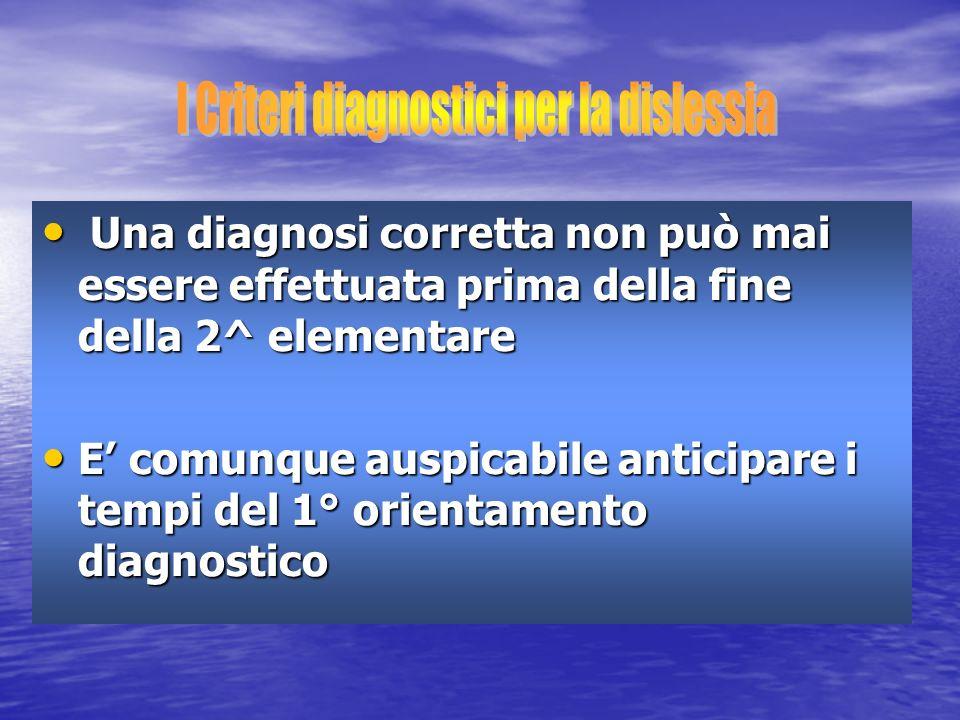 I Criteri diagnostici per la dislessia