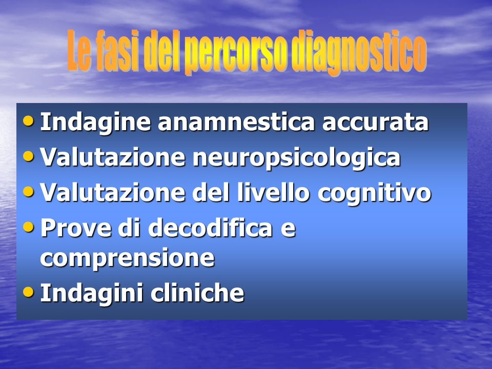 Le fasi del percorso diagnostico