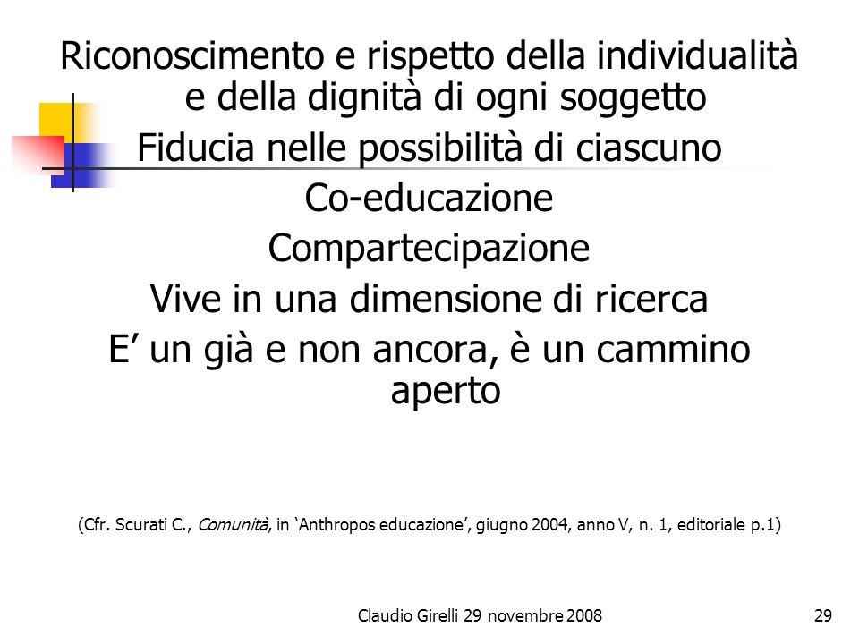 Fiducia nelle possibilità di ciascuno Co-educazione Compartecipazione