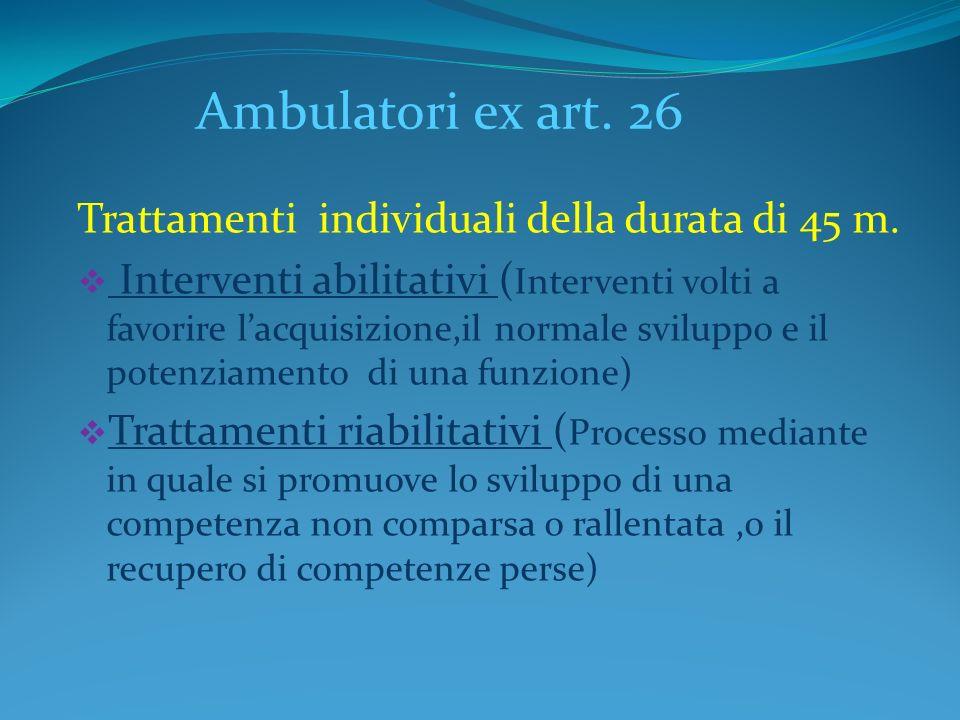 Ambulatori ex art. 26 Trattamenti individuali della durata di 45 m.