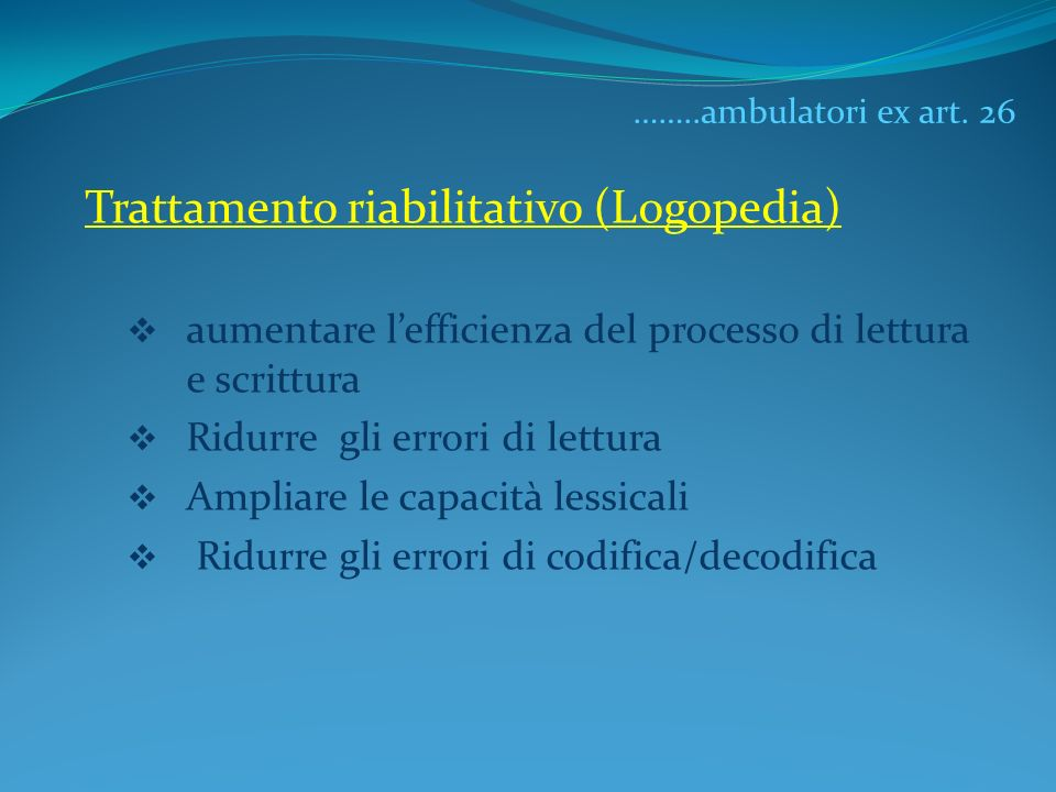 Trattamento riabilitativo (Logopedia)