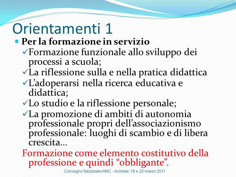Orientamenti 1 Per la formazione in servizio. Formazione funzionale allo sviluppo dei processi a scuola;