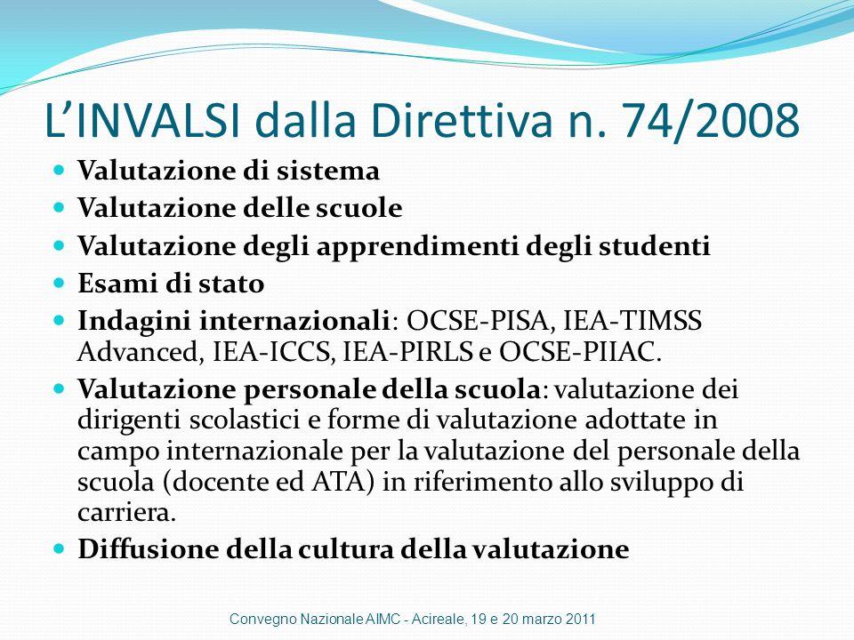 L'INVALSI dalla Direttiva n. 74/2008