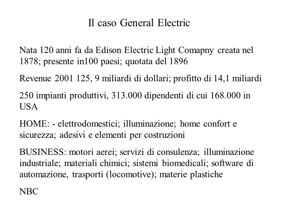 Il caso General Electric