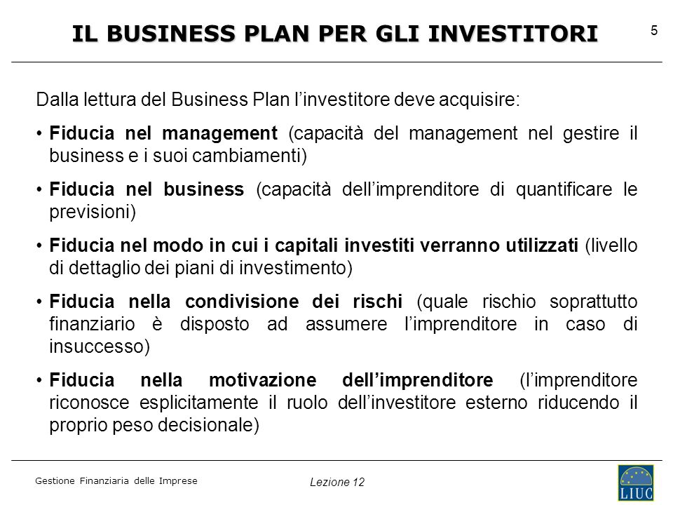 IL BUSINESS PLAN PER GLI INVESTITORI