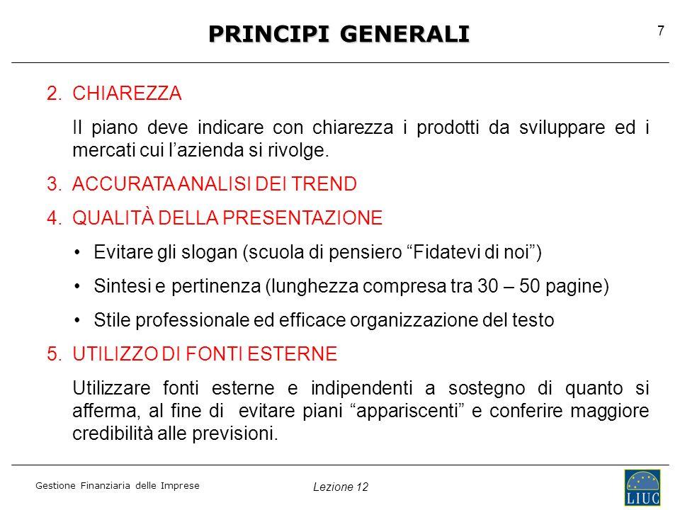 PRINCIPI GENERALI CHIAREZZA