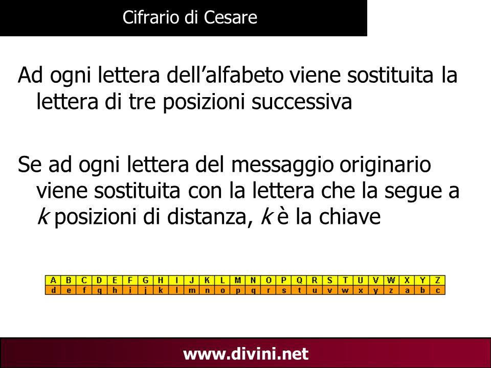 Cifrario di Cesare Ad ogni lettera dell'alfabeto viene sostituita la lettera di tre posizioni successiva.