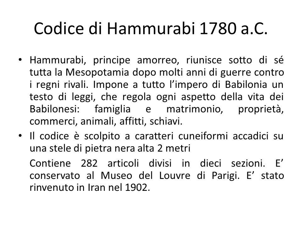 Codice di Hammurabi 1780 a.C.