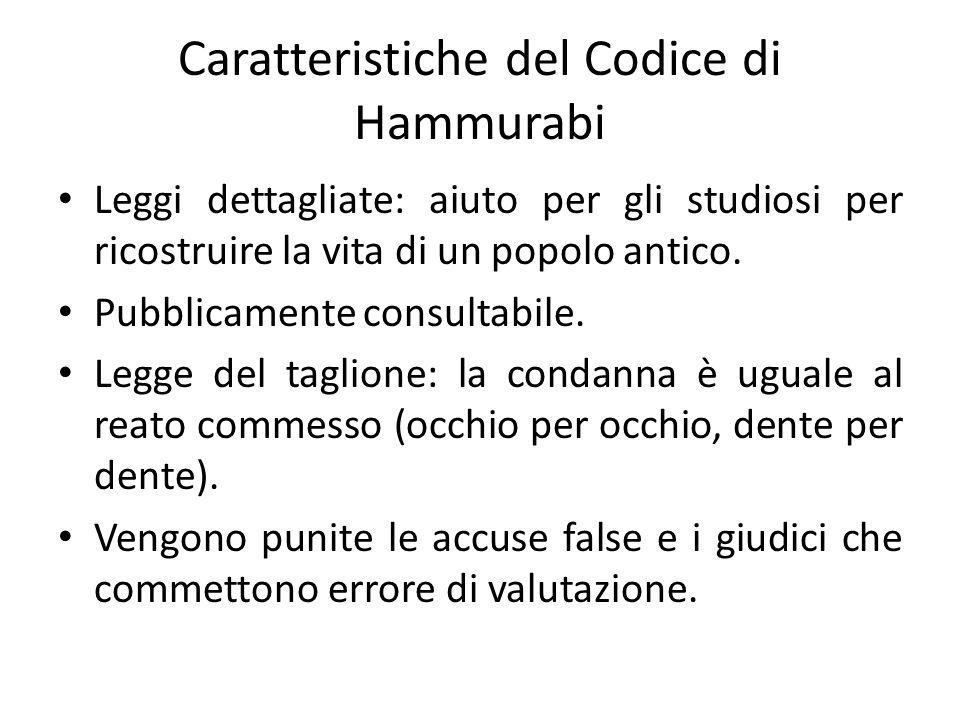 Caratteristiche del Codice di Hammurabi