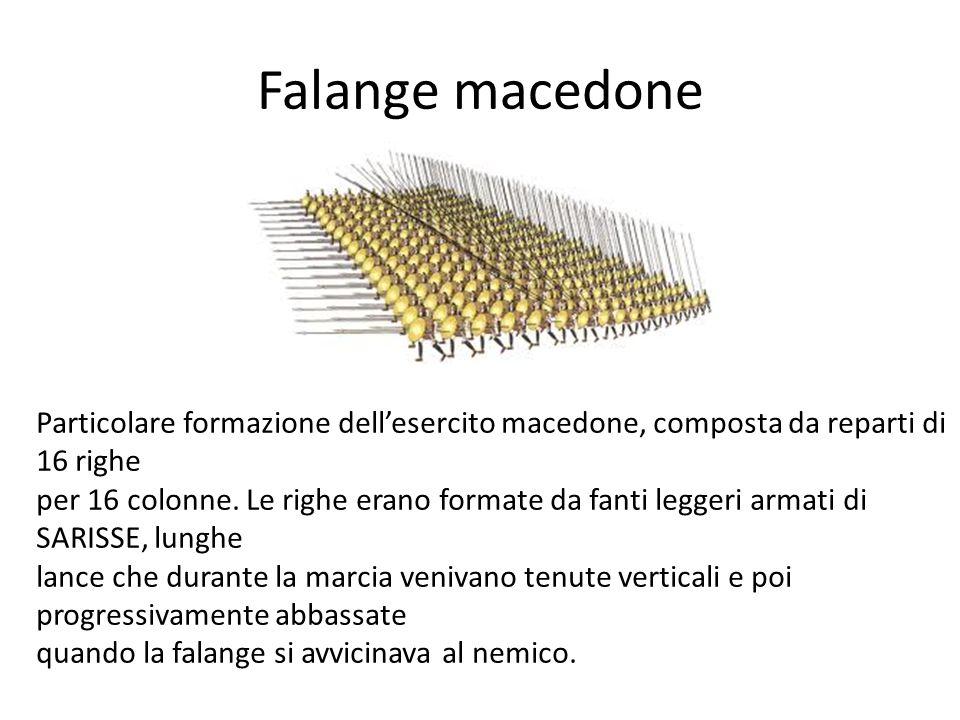 Falange macedone Particolare formazione dell'esercito macedone, composta da reparti di 16 righe.
