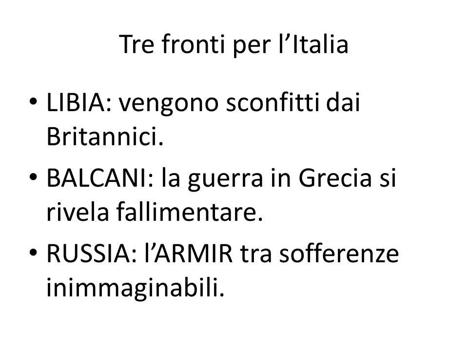 Tre fronti per l'Italia
