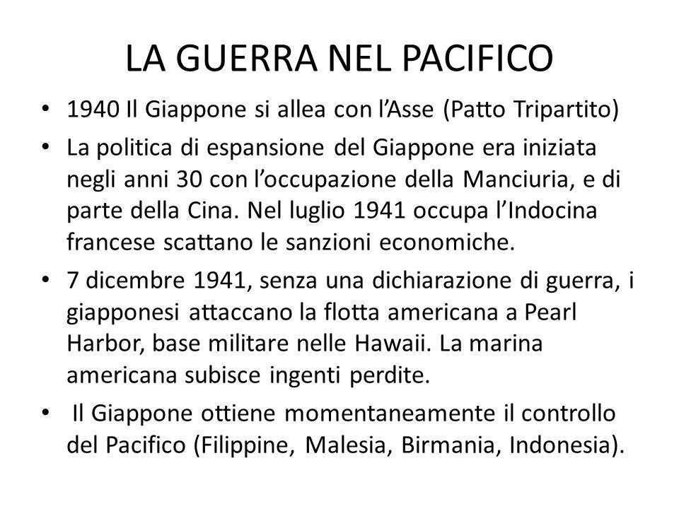 LA GUERRA NEL PACIFICO 1940 Il Giappone si allea con l'Asse (Patto Tripartito)