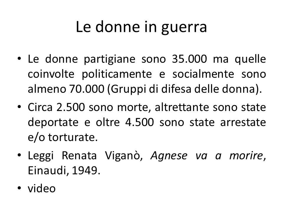 Le donne in guerra Le donne partigiane sono 35.000 ma quelle coinvolte politicamente e socialmente sono almeno 70.000 (Gruppi di difesa delle donna).