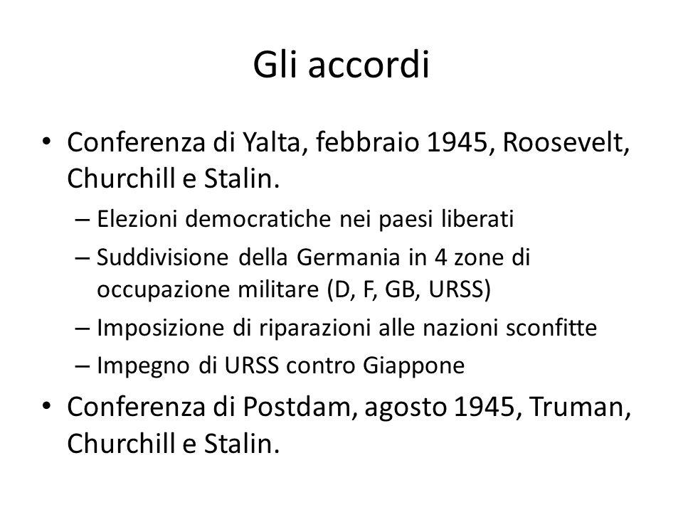 Gli accordi Conferenza di Yalta, febbraio 1945, Roosevelt, Churchill e Stalin. Elezioni democratiche nei paesi liberati.