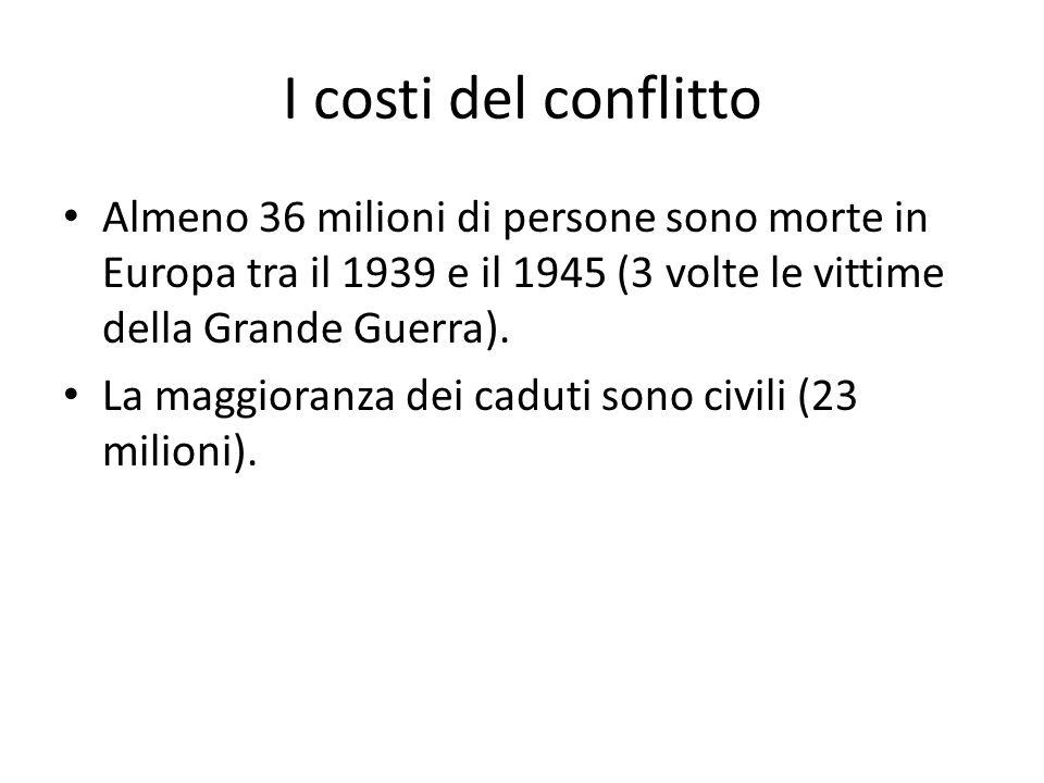 I costi del conflitto Almeno 36 milioni di persone sono morte in Europa tra il 1939 e il 1945 (3 volte le vittime della Grande Guerra).