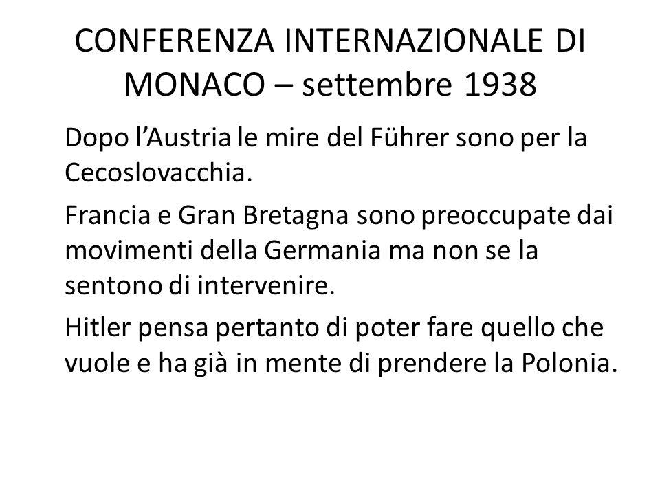CONFERENZA INTERNAZIONALE DI MONACO – settembre 1938