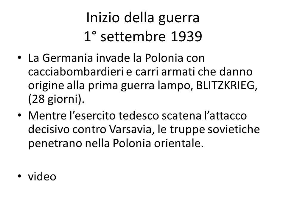 Inizio della guerra 1° settembre 1939