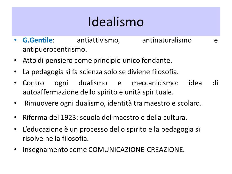 IdealismoG.Gentile: antiattivismo, antinaturalismo e antipuerocentrismo. Atto di pensiero come principio unico fondante.