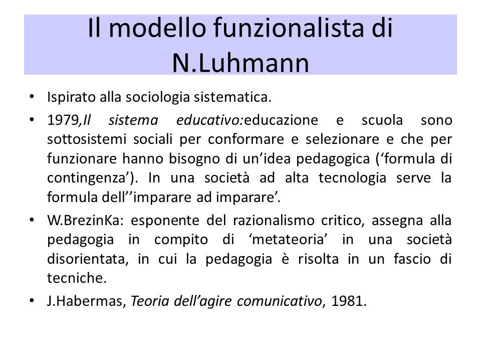 Il modello funzionalista di N.Luhmann