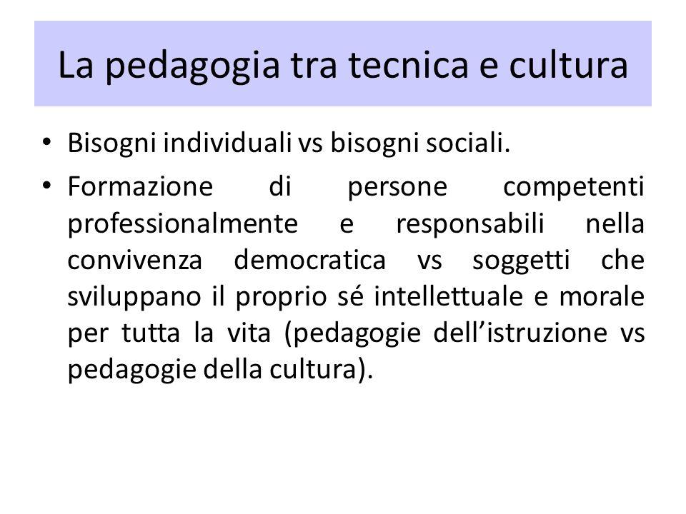 La pedagogia tra tecnica e cultura