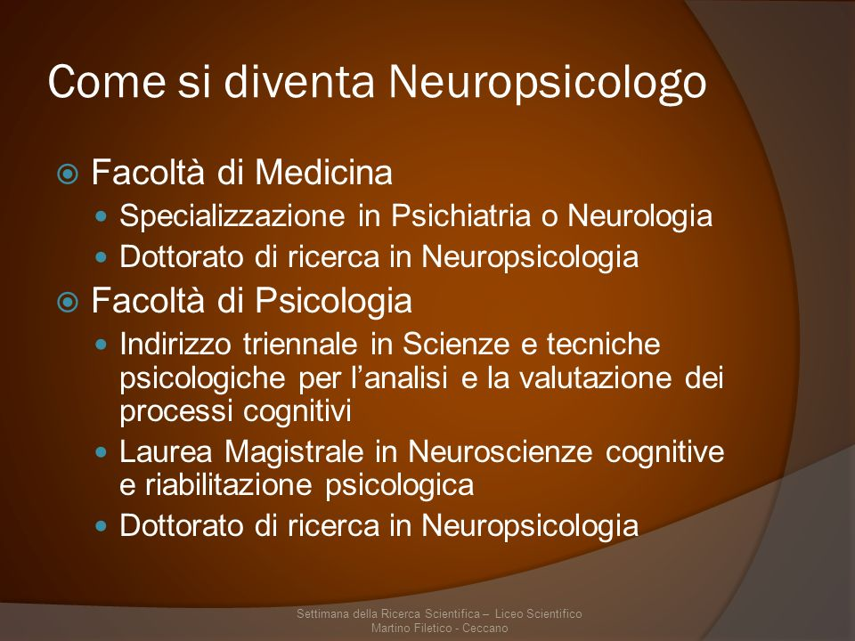 Come si diventa Neuropsicologo