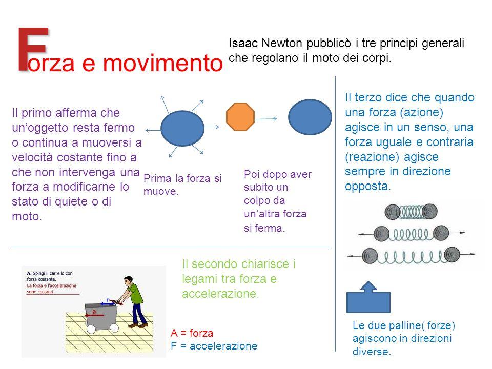 F Isaac Newton pubblicò i tre principi generali che regolano il moto dei corpi. orza e movimento.