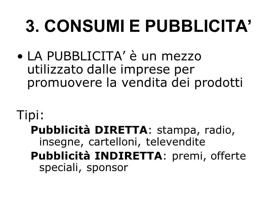 3. CONSUMI E PUBBLICITA'LA PUBBLICITA' è un mezzo utilizzato dalle imprese per promuovere la vendita dei prodotti.