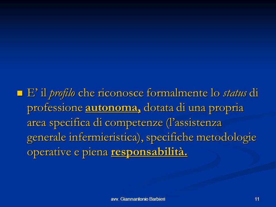 E' il profilo che riconosce formalmente lo status di professione autonoma, dotata di una propria area specifica di competenze (l'assistenza generale infermieristica), specifiche metodologie operative e piena responsabilità.
